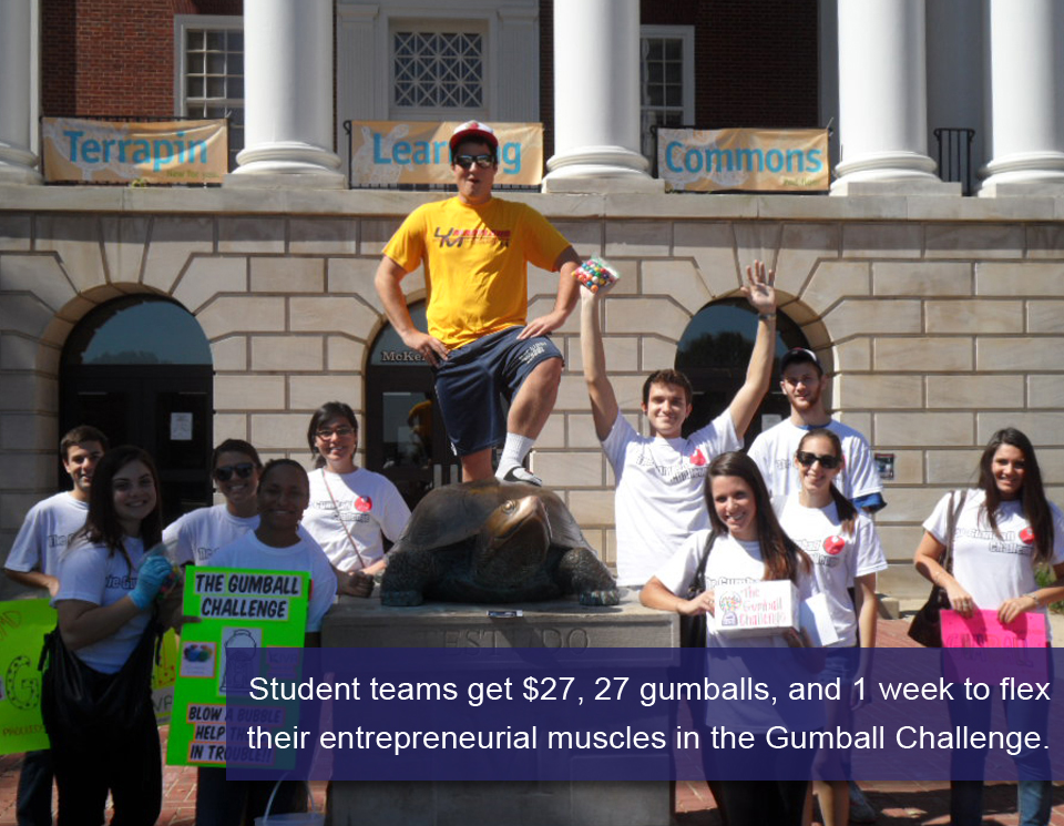 Student teams get $27, 27 gumballs, and 1 week to flex their entrepreneurial muscles in the Gumball Challenge.